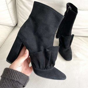 Zara Black Suede Ruffle Front Block Heel Booties